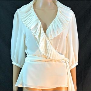 Bandolino Shirt Sz 14 Cream Wrap Around Cross Over